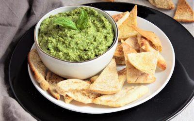 Chunky Pea Pesto Dip + Pita Chips