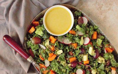 Roasted Butternut Squash & Grape Kale Salad with Citrus Dressing